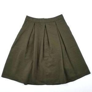 NWOT Express Olive Green A Line Skirt Size 6